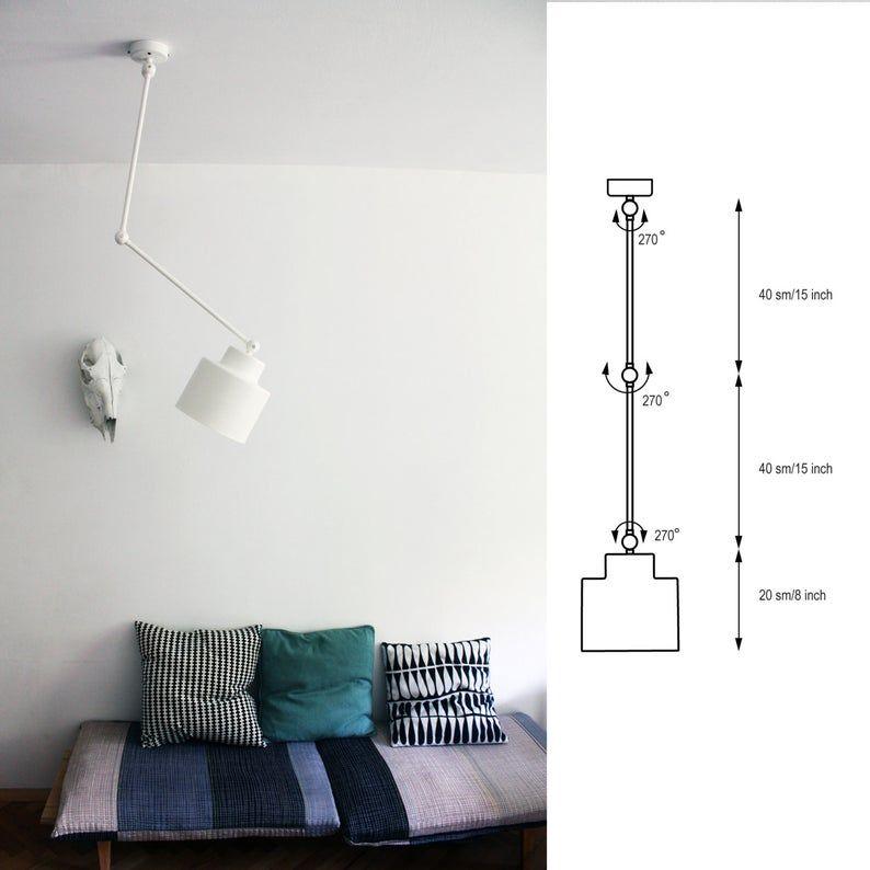 Decken Bewegliches Licht Lampe Mit Flexiblen Armen Etsy In 2020 Lamps Living Room Movable Lamp Ceiling Lamp White