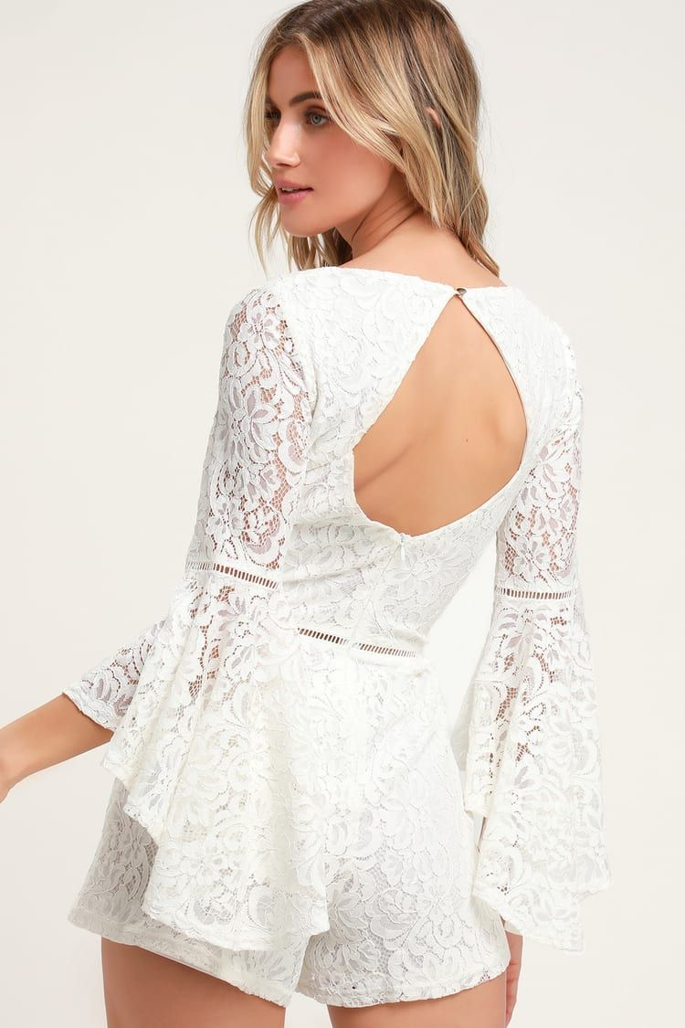 Babygirl White Lace Faux Wrap Romper In 2021 White Lace Romper Wrap Romper White Lace [ 1125 x 750 Pixel ]