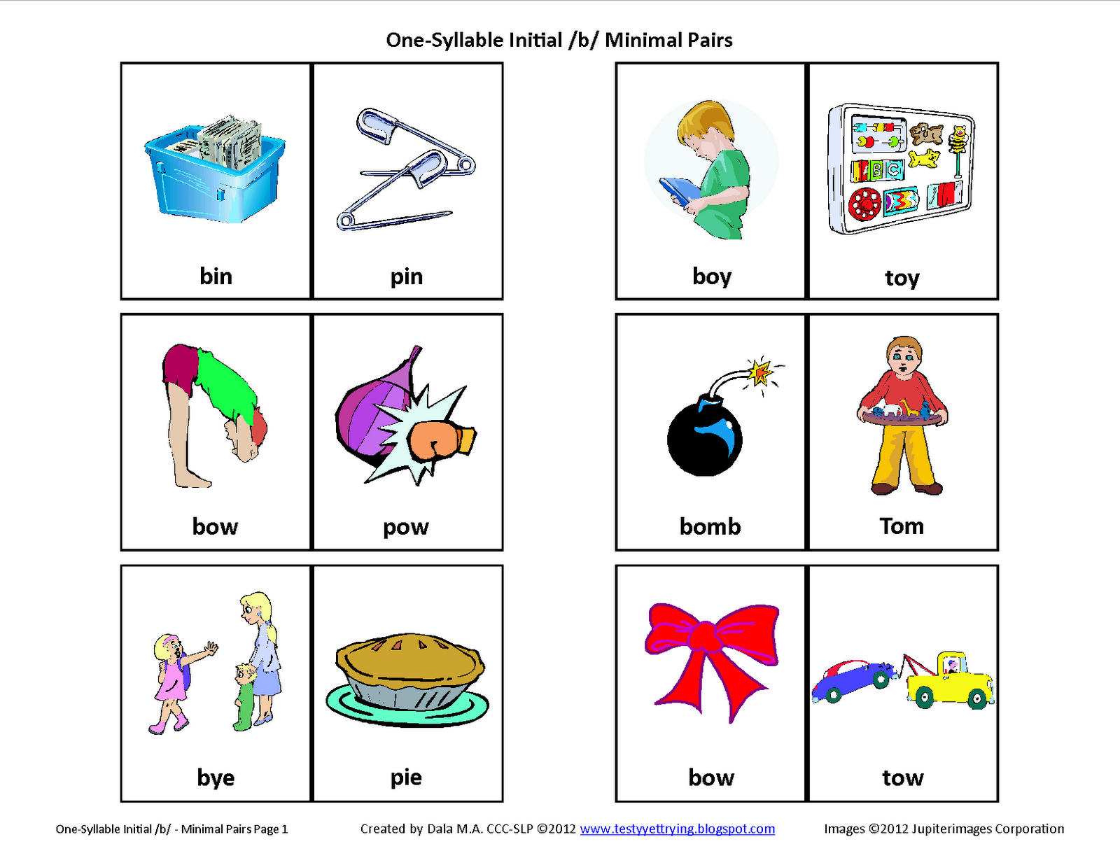 Project Initial B Minimal Pairs Free Speech Therapy Articulation Picture Cards