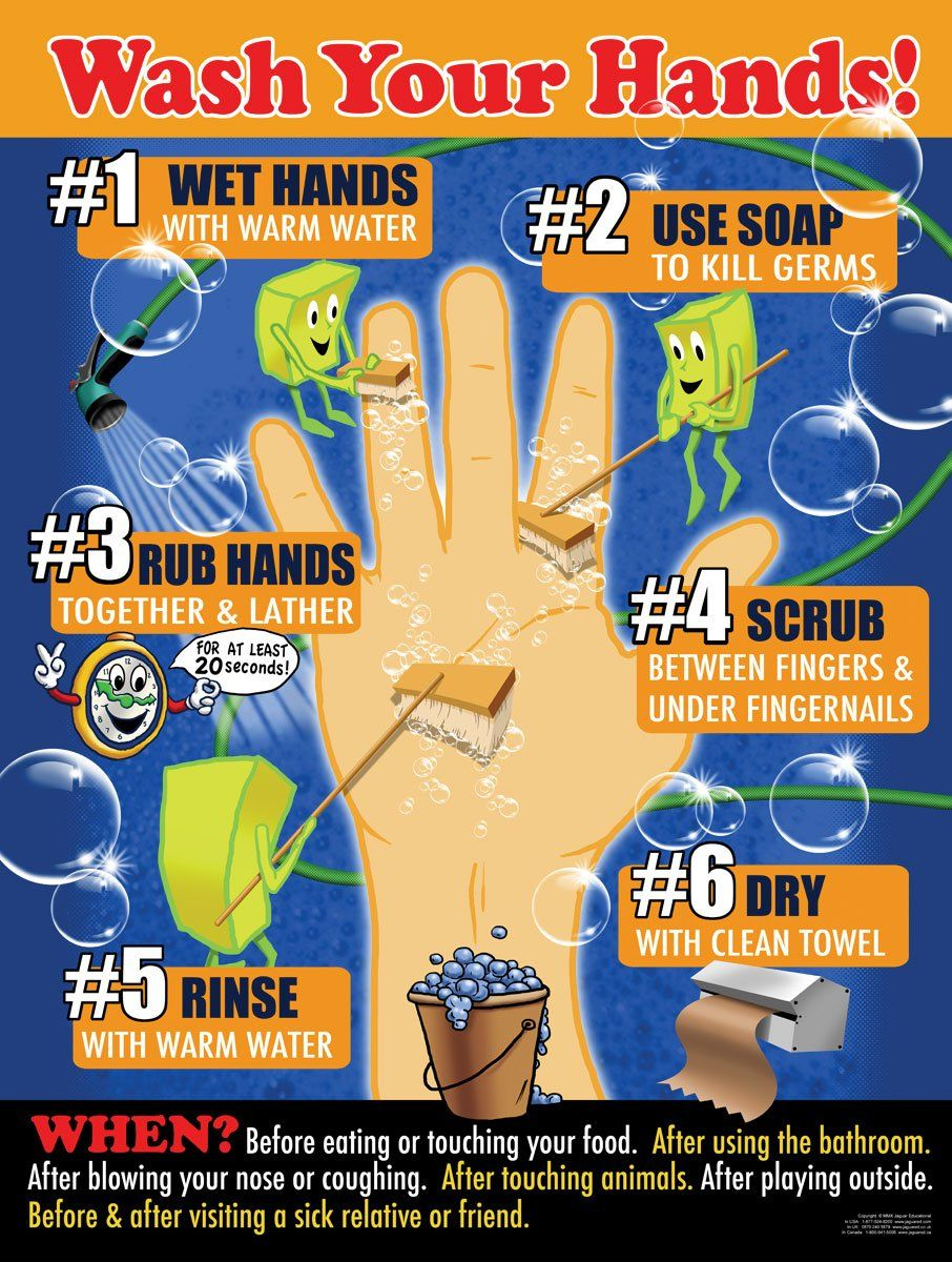Wash Your Hands 18 X 24 Laminated Poster Step By Step Hand
