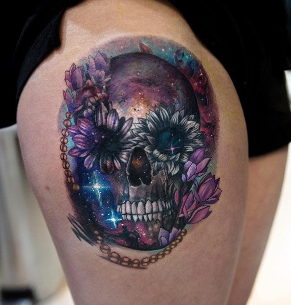 Galaxy scar cover-up tattoo by Mikhail Anderson ...