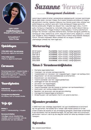 Fris  zakelijk en opvallend cv  zeer geschikt voor secretaresses   OfficeStars  h  t platform