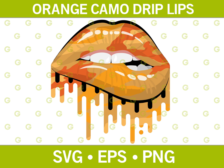 Lipstick Svg Drip Lips Svg Sublimation Lips Svg Biting Lips Svg Fashion Lips Svg Fashion Green Camouflage Dripping Lips Svg