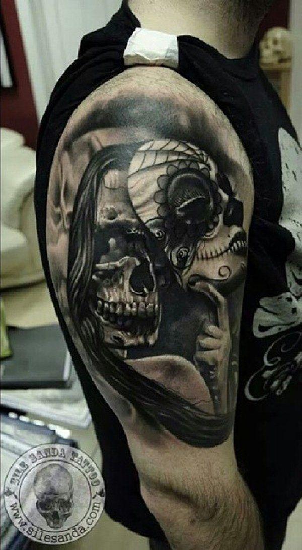 100 Awesome Skull Tattoo Designs Cuded Skull Sleeve Tattoos Skull Sleeve Black Skull Tattoo