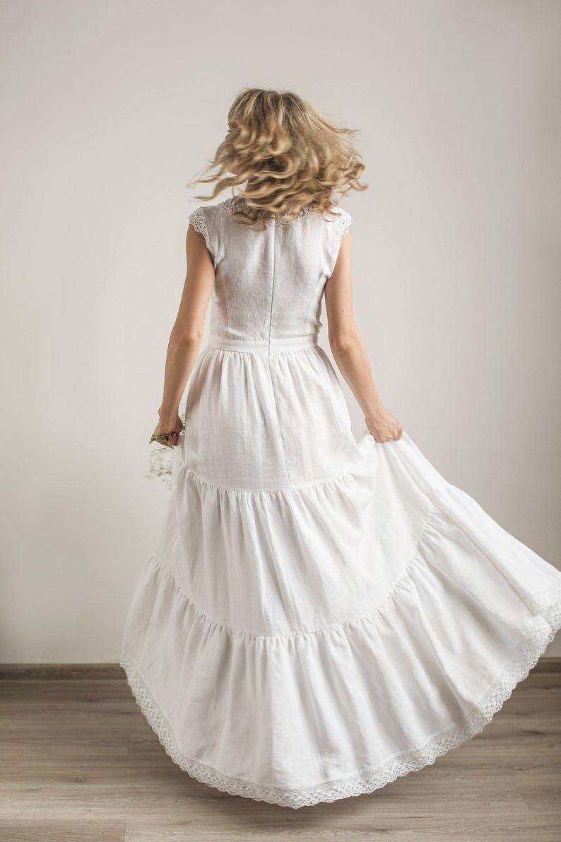 Modest Wedding Dress Simple Wedding Dress Linen Wedding Etsy Linen Wedding Dress Wedding Dresses Modest Wedding Dresses [ 1191 x 794 Pixel ]