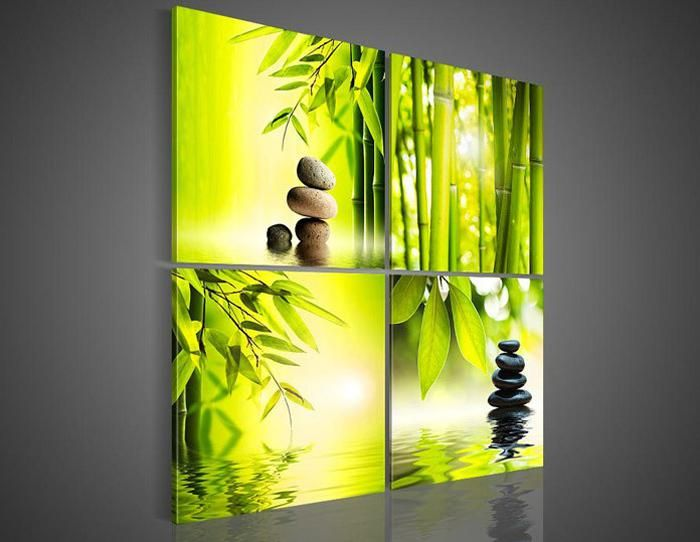 4 Piece/set Wall Art Botanical Green Picture Colorful Oil Painting ...