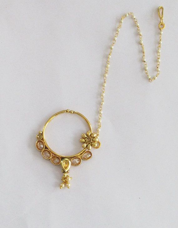 Gold Crystal Nose Ring With Chain South Indian by Beauteshoppe