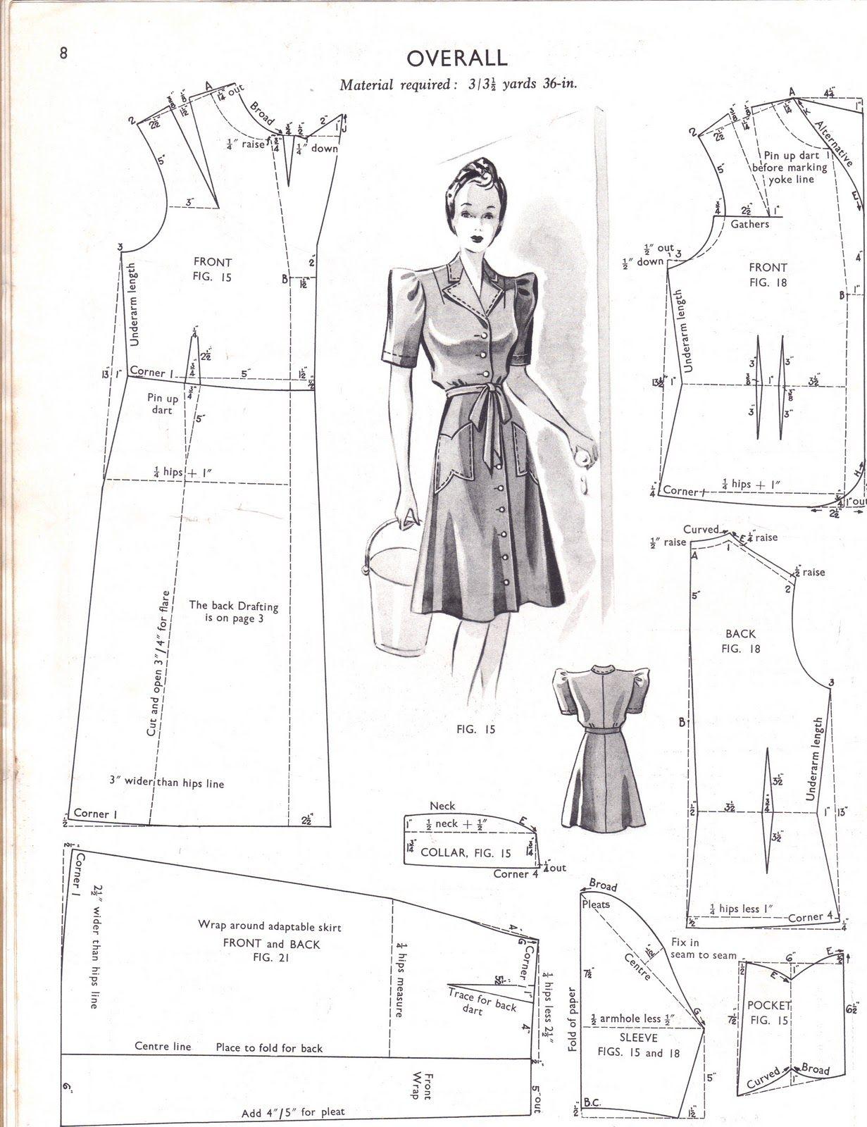 Molde vestido con botones adelante   patrones   Pinterest   Costura ...
