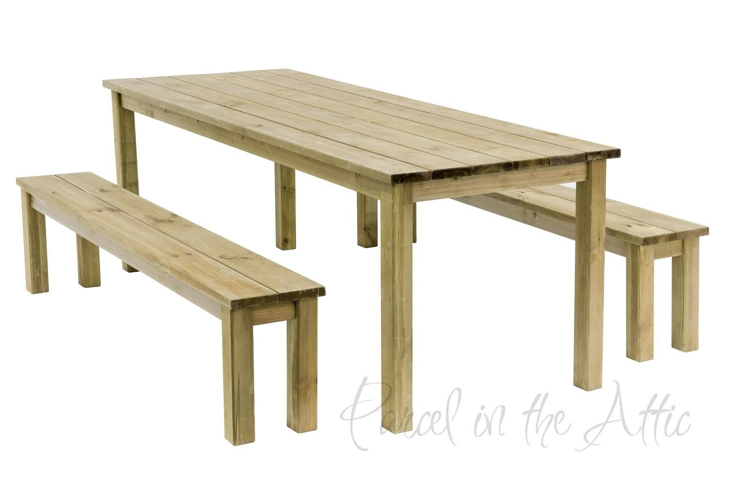 Parcel In The Attic Ferrol Rectangular Garden Table Bench Set Garden Table Bench Set Wooden Picnic Tables