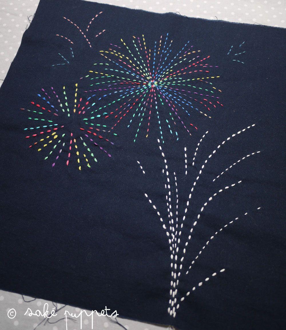 Free pattern! Sashiko Embroidery: Fire flowers   Sashiko   Pinterest ...