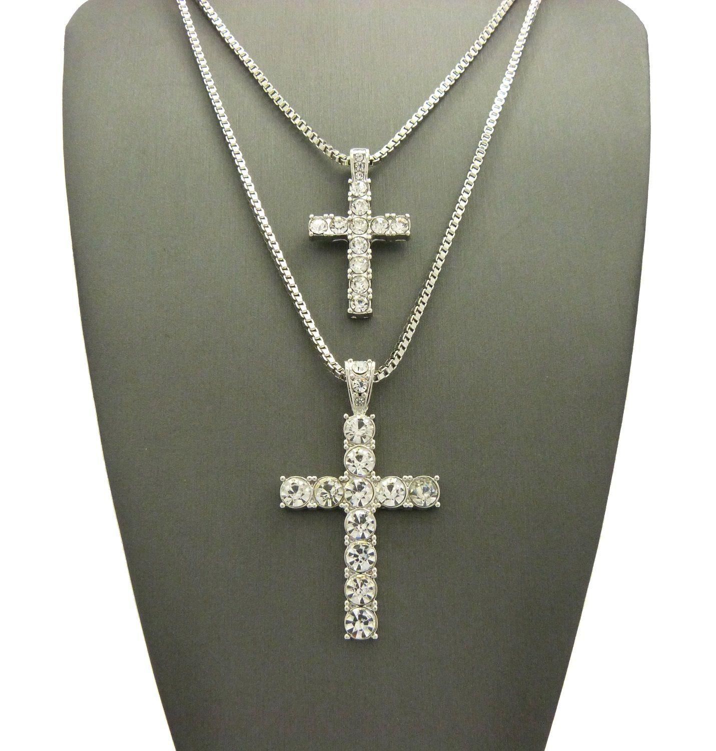 New iced out cross double pendant box chain hip hop necklace set iced out cross double pendant box chain hip hop necklace set mozeypictures Choice Image