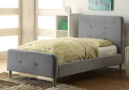 1perfectchoice Barney Grey Padded Flannelette Frame Platform Bed