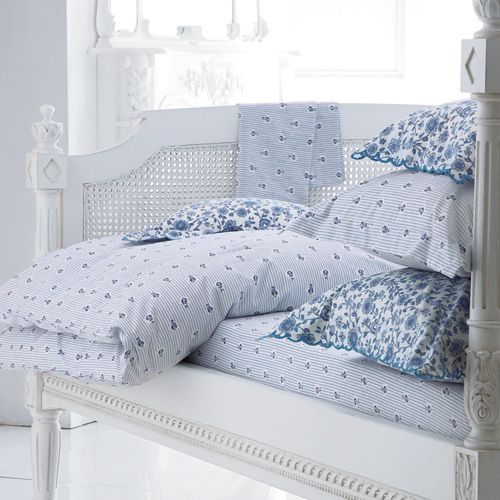 Blue Camille Bed Linen Cologne Cotton Bedroom Bed Linen