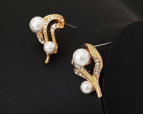 18K Real Gold Plated Earrings Women Factory Price Trendy Pearl Beads Rhinestone Stud Earrings