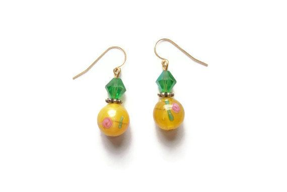 Yellow Glass with Flower and Green by SillygirlblueJewelry on Etsy, $14.99