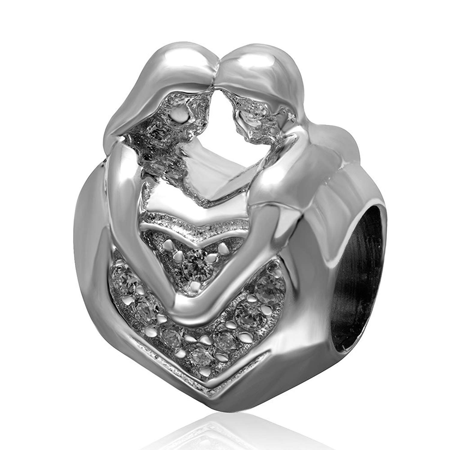 Marriage Charm 925 Sterling Silver Beads Love Charm //Couple Charm Fits Diy Charm Bracelets