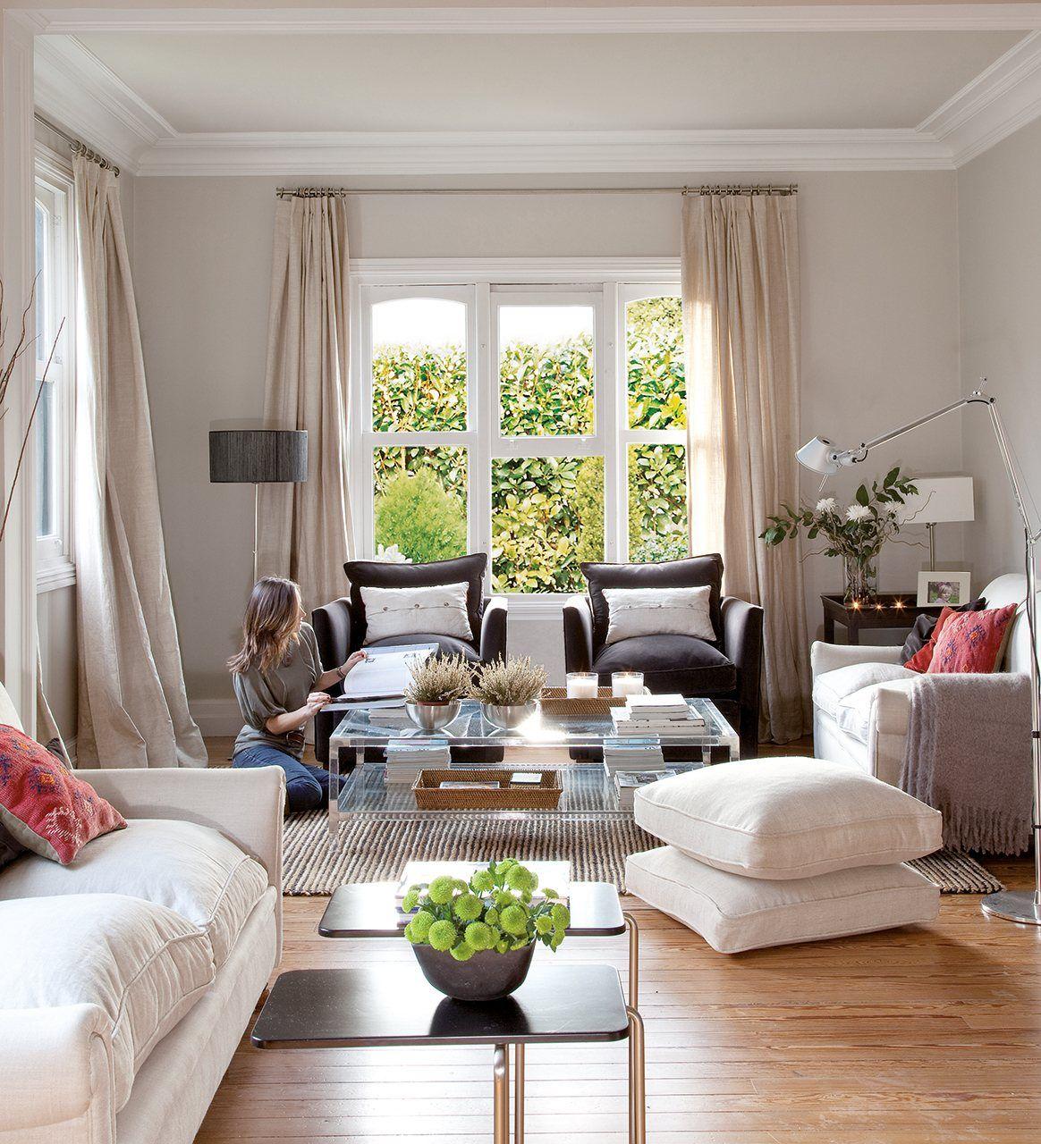 30 salones peque os y confortables salas de estar living room room y small living rooms - Cortinas para salones pequenos ...