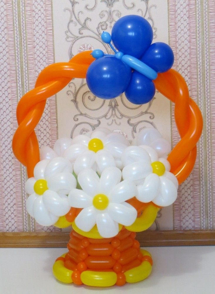 Blue butterfly sat on the basket with daisies Balloons Pinterest