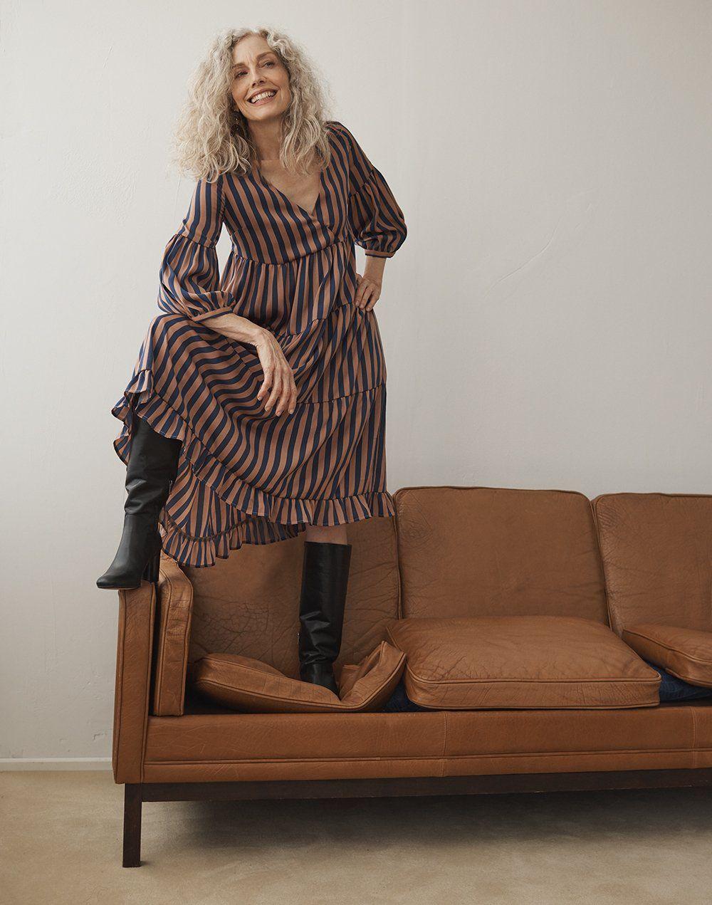 madewell scarlett tall boot worn with striped satin midi dress ... 164cde0a10a6