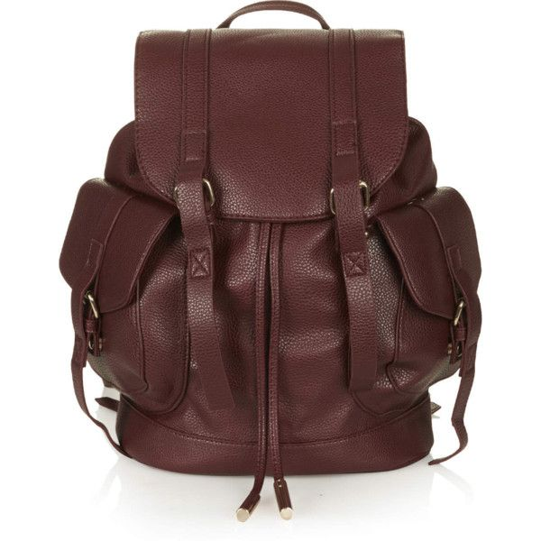 b6d97b5f75 TOPSHOP Grainy Faux Leather Pocket Backpack (90 AUD) ❤ liked on Polyvore  featuring bags