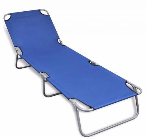 Folding Sun Lounger Relax Adjustable Backrest BluePool Sunbed Garden  Furniture Part 39
