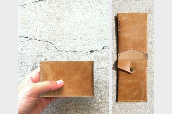 Men women  wallet leather handmade brown by LuisaGarciaStudio