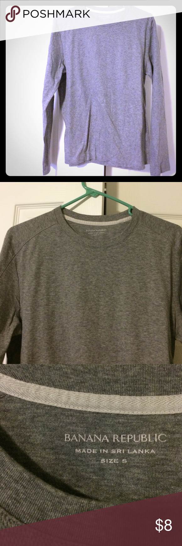 Banana Republic men's long sleeve tee In excellent condition. Thicker than a normal tee but thinner than a sweater. Price is firm; I don't accept offers. No trades. Bundle and save! Banana Republic Shirts Tees - Long Sleeve