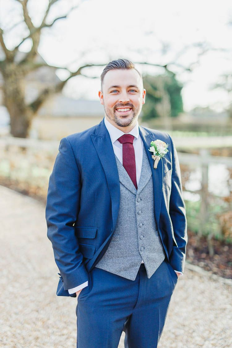 Beautiful & Rustic Fairy Lights Barn Wedding | Blue suit groom ...