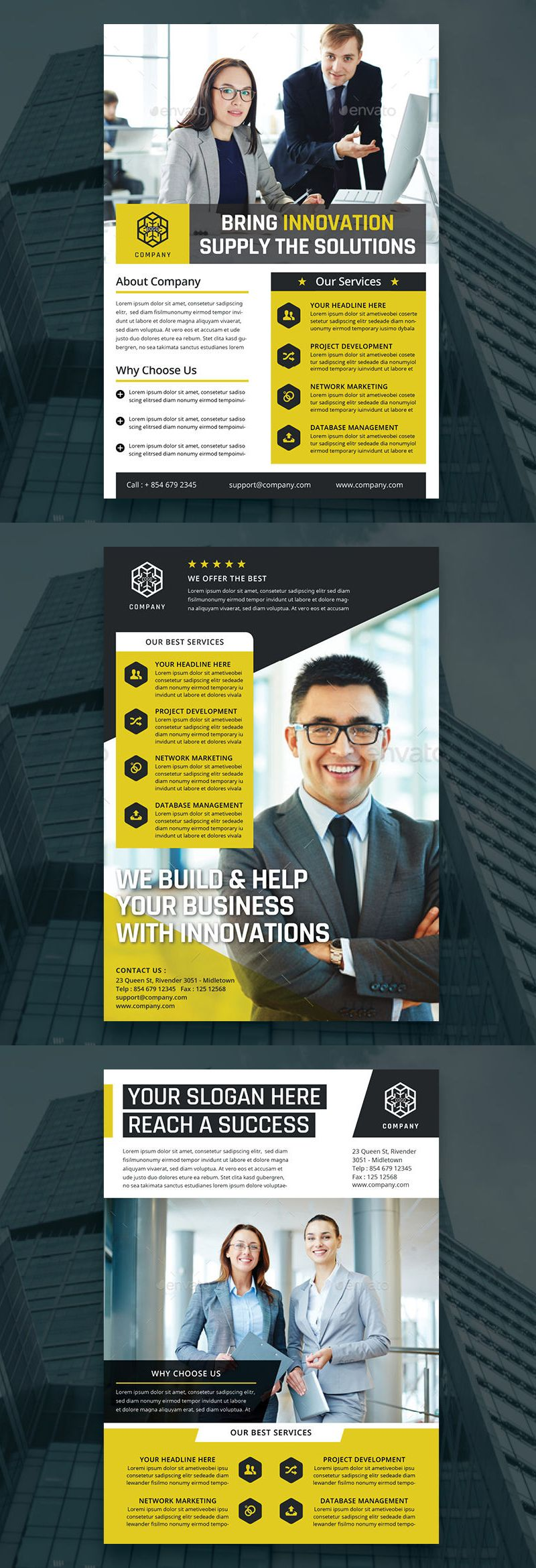 3 Corporate Flyers Templates InDesign INDD | suraj desings ...