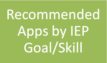 Lots of great and free apps divided by skill area, related service area, and IEP goal! Fantastic