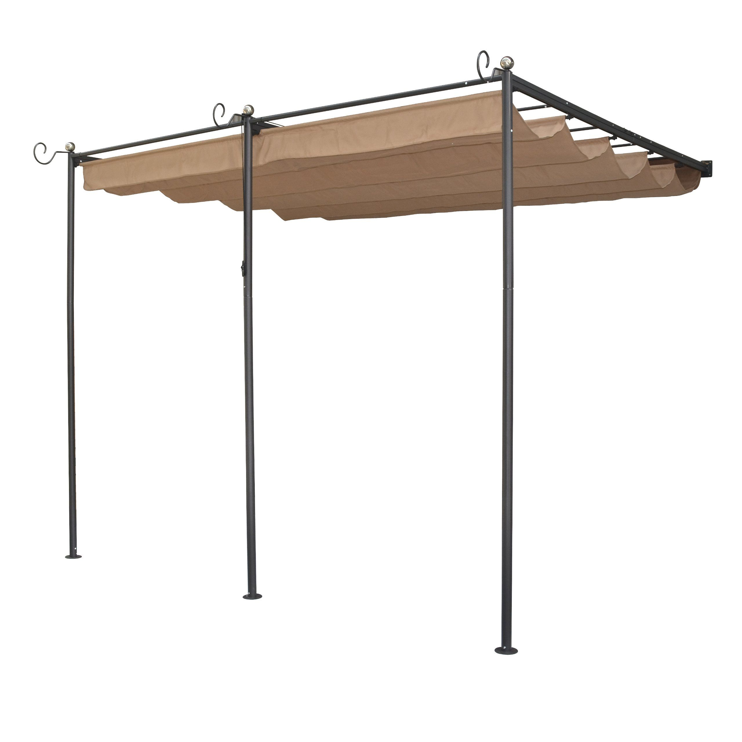 Bosmere PERWM1 Rowlinson St Tropez Wall Mounted Steel Sun Canopy With Retractable Fabric