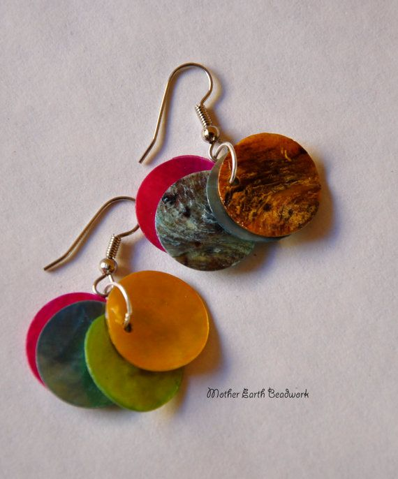 Colorful Shell Earrings by MotherEarthBeadwork on Etsy, $4.00