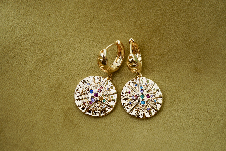 Star Coin Earrings Star Pendant Golden Earrings Cubic Zirconia Rainbow CZ Rainbow multi stone charmCoin Earrings Coin Charm Star Charm  Star Coin Earrings Star Pendant Go...