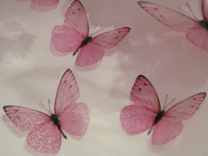 4 Sparkling Pink Girls Fairy Dust Bedroom 3d Flying Butterfly Accessories