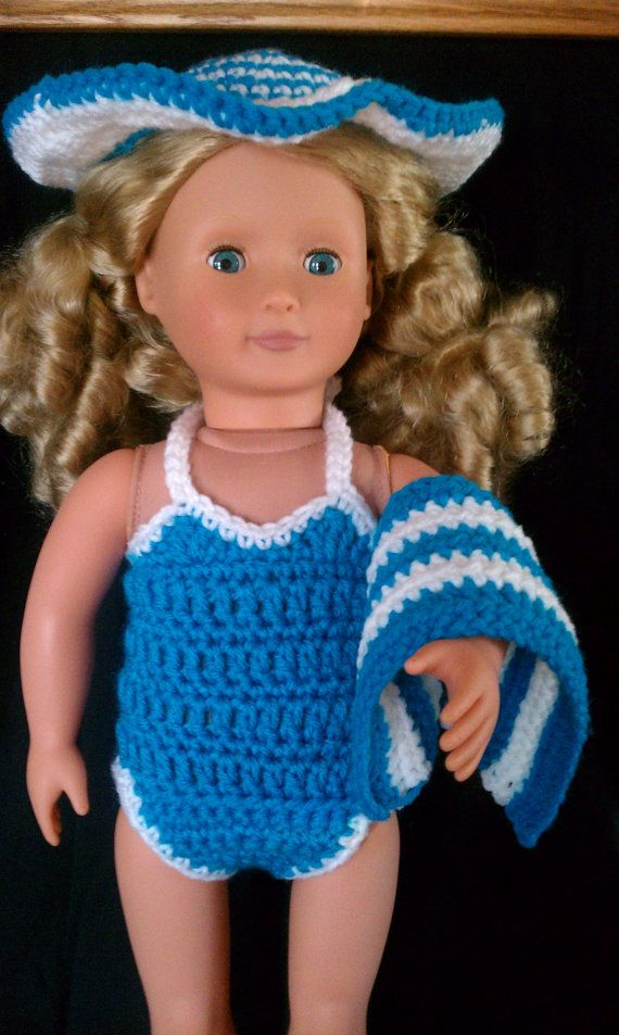 American girl doll crochet swimsuit set with hat and beach towel