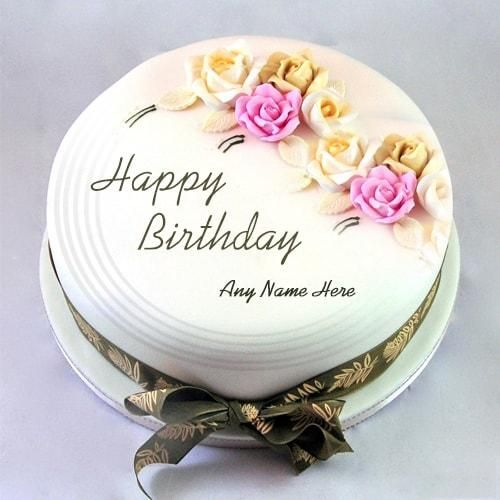 write name birthday cake with roses ruth anne birthdays
