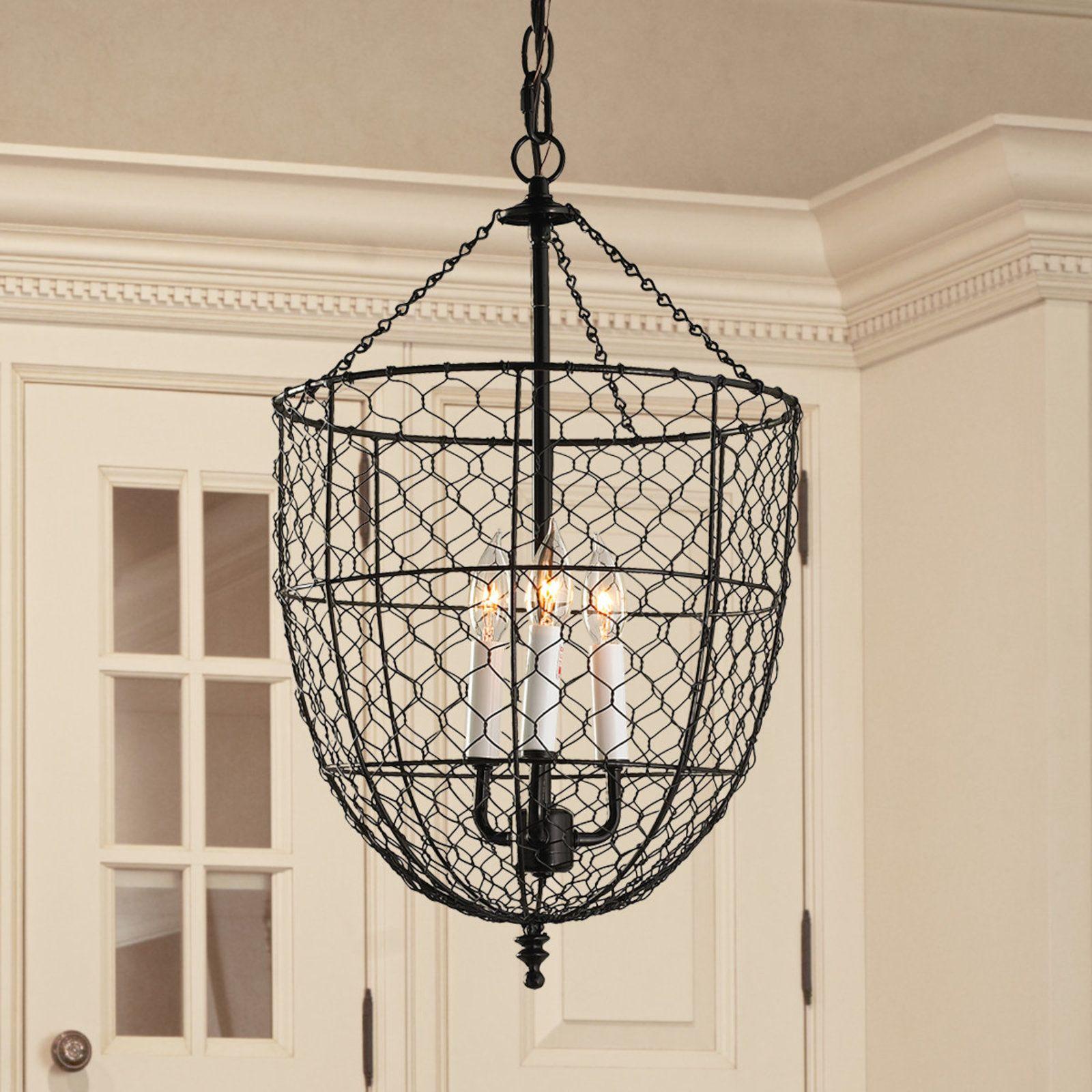 Chicken Wire Smokebell Lantern Black Decor Wire Chandelier Lighting