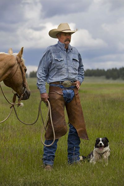 Montana Cowboyalways With His Dog And Usually A Horse