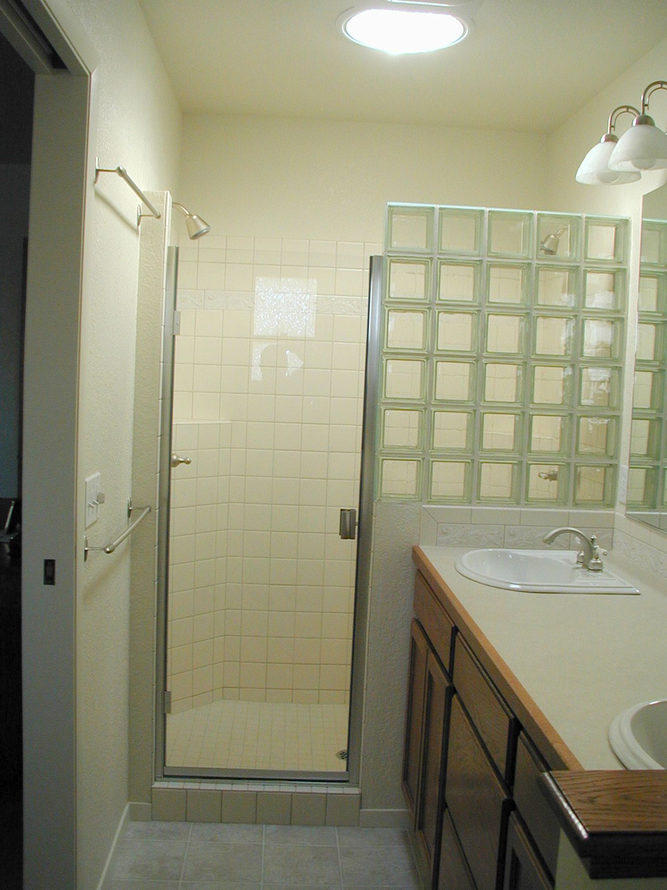 Elegant Glass Block Shower Partial Wall. Could Substitute Shower Curtain For Door Pictures