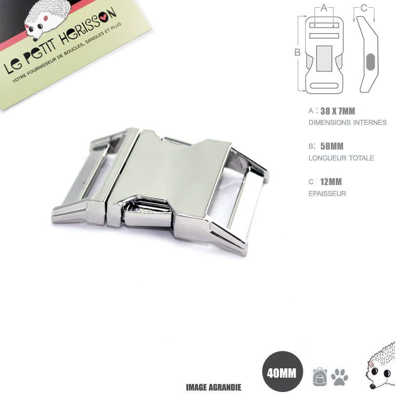 c12e580540e85 1 x 40mm Boucle Attache Rapide / Fermoir Clip / Metal / Chrome ...