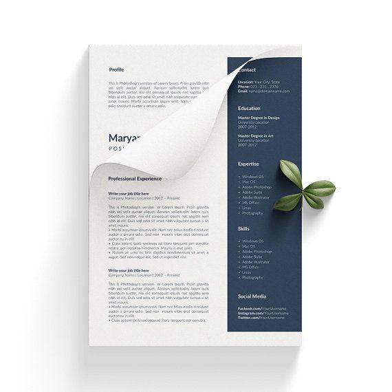 Modern CV Template Resume Pages Resume Word Creative CV Resume - resume 1 or 2 pages