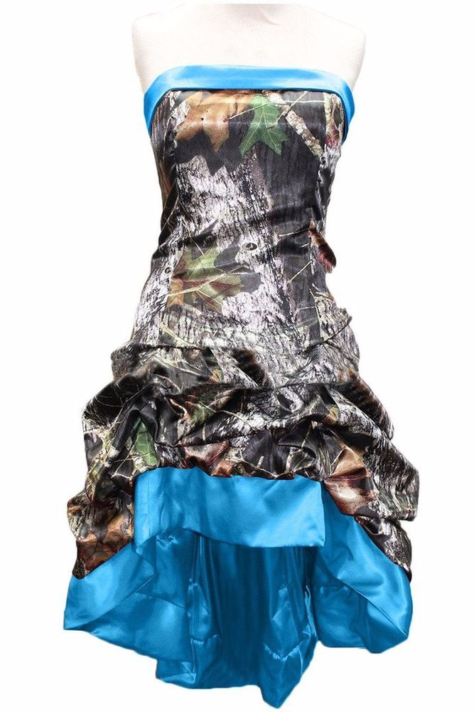 New Short Satin Camo Wedding Dresses Sheath Camouflage Appliques