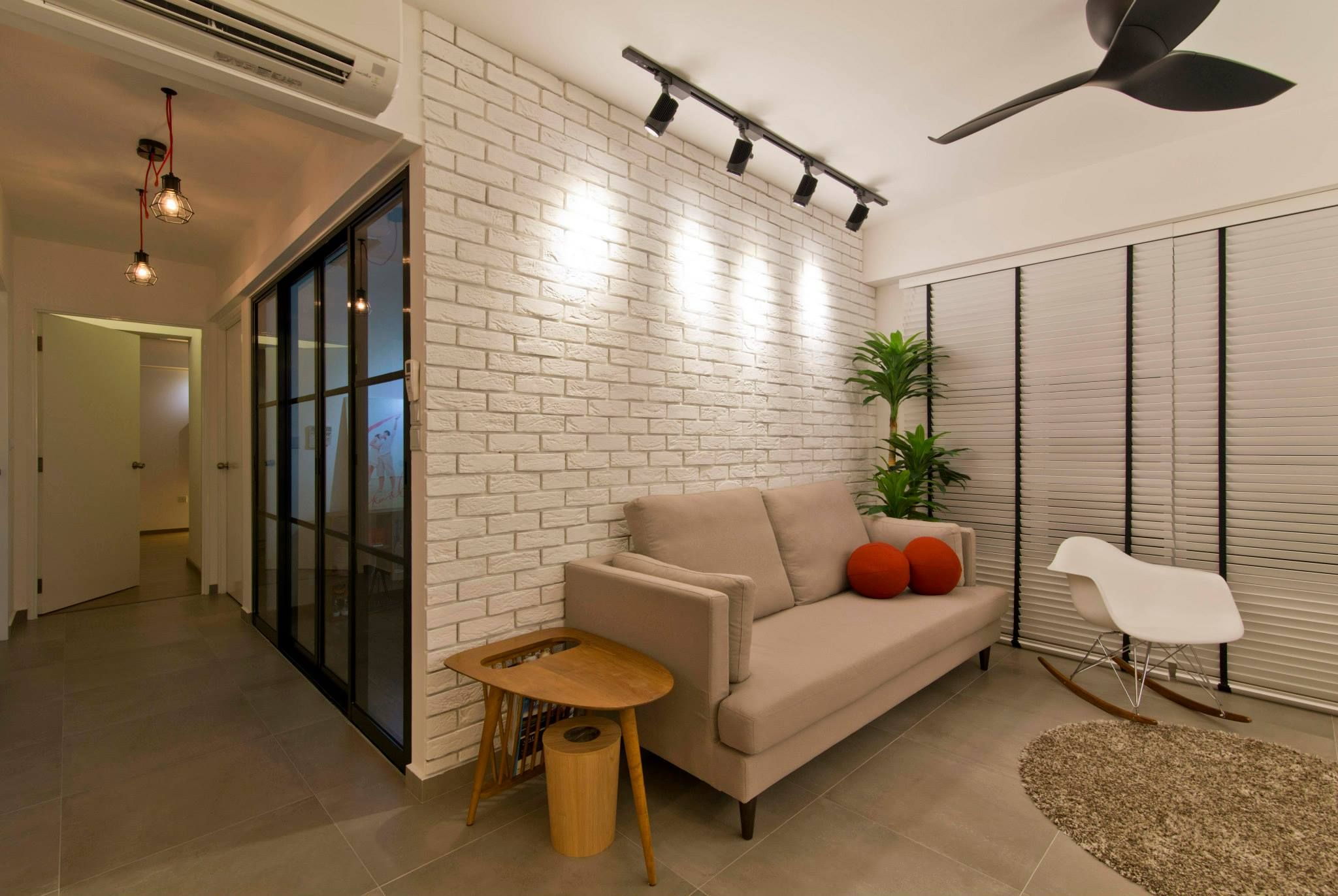 Brick walls and track lights are getting increasingly popular among  Singaporean homes Industrial Scandinavian HDB Decor Concepts Pinterest