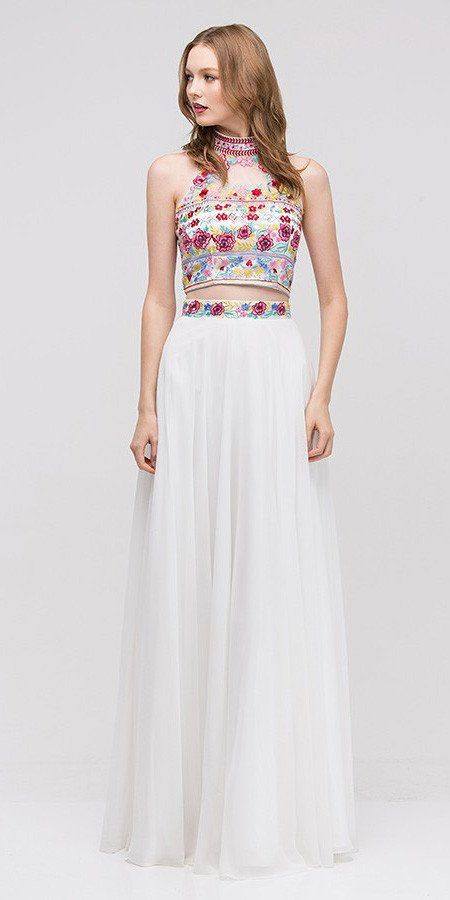Long Chiffon Embroidered Floral Pattern Prom Gown Off White 2 Piece ...
