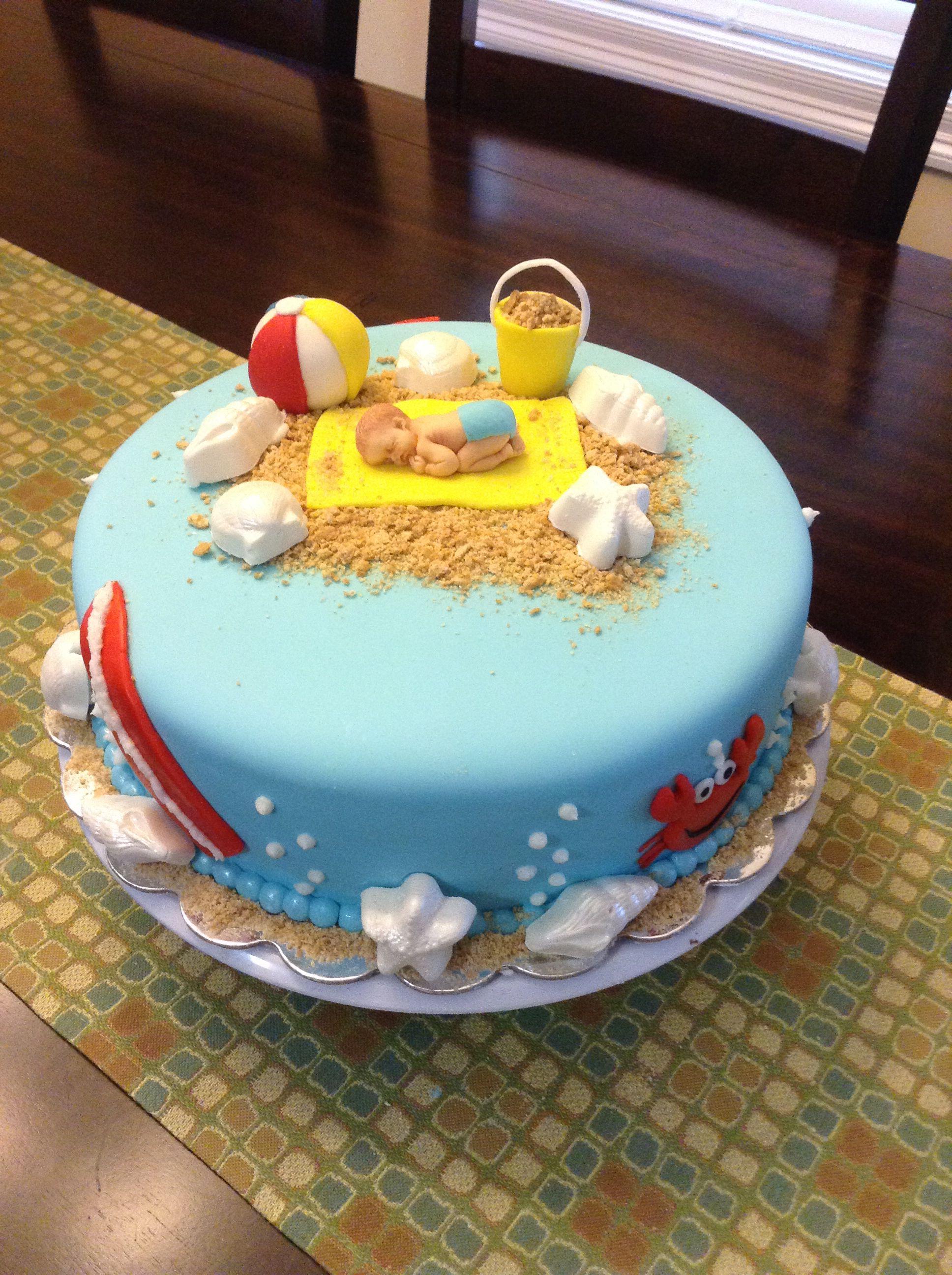Beach Theme Baby Shower Cake Baby Shower Cakes Girl Surfer