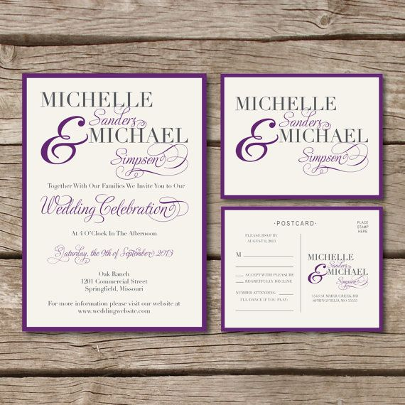 Simple  Elegant  Wedding Invitation  Rsvp Postcard In Purple And