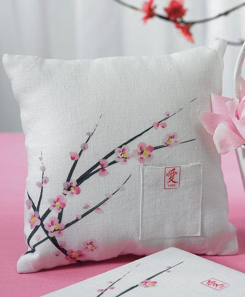 Cherry Blossom Square Ring Pillow | Kissenbezüge und Kissen