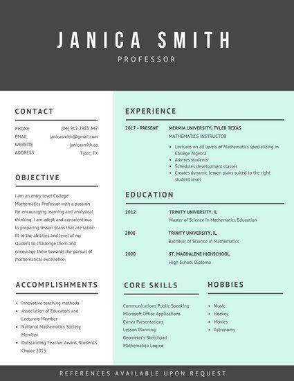 Light Cyan Dark Grey Academic Resume   Resume   Pinterest   Dark ...