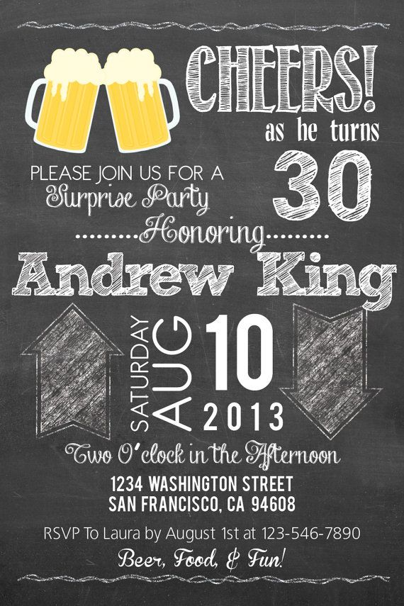 Surprise 21st 30th 40th 50th Beer Chalkboard Style By PuzzlePrints