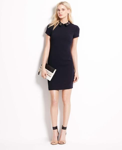 $139.99 Petite Jewel Collar Shift Dress | Ann Taylor Dresses | Pinterest